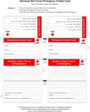 American red Cross Emergency Contact Card