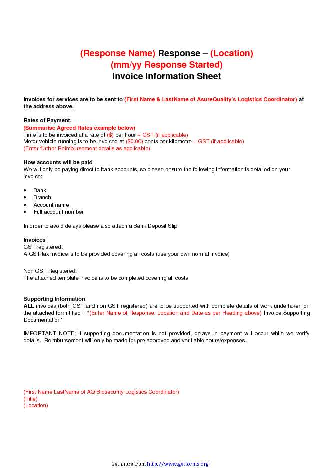 Invoice Information Sheet