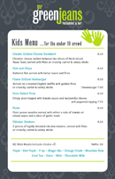 Kids Menu for the Under 10 Crowd