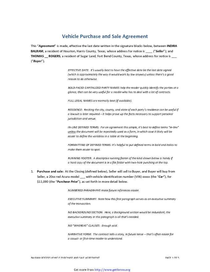 Vehicle Purchase and Sale Agreement