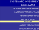 Investment Calculator Excel form