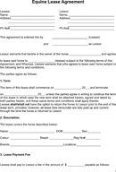Equine Lease Agreement