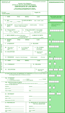 Blank Birth Certificate Form form