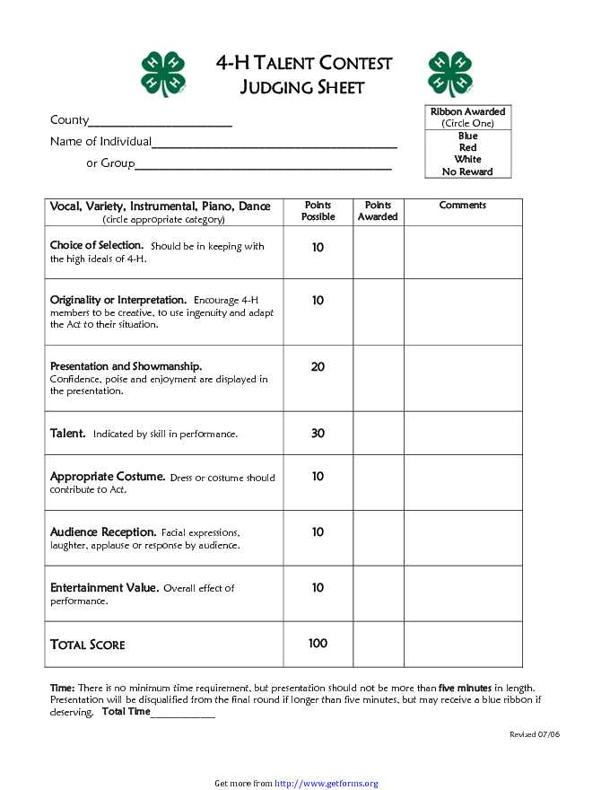 4-H Talent Contest Judging Sheet