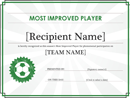 Most Improved Player Certificate (Editable Title)