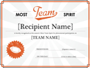 Team Spirit Award Certificate Word