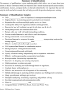 Summary of Qualifications Example 2 form