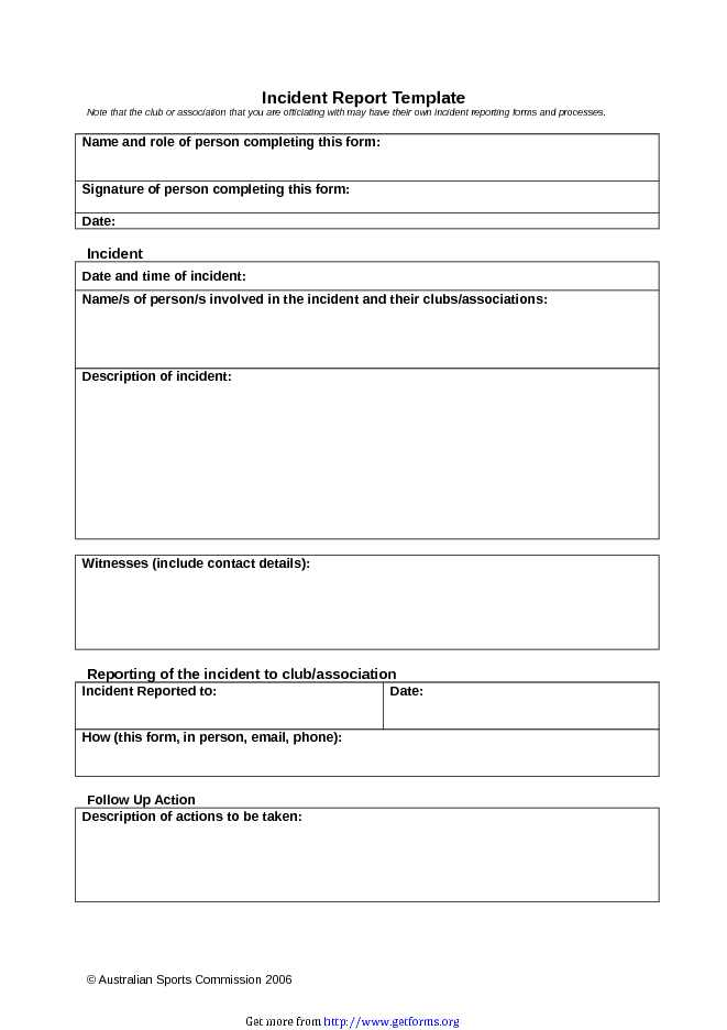 Incident Report Template 1