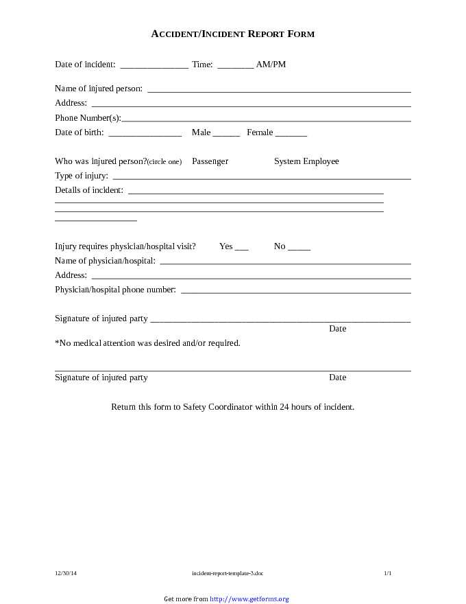Incident Report Template 3
